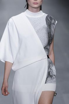 Asymmetric dress combining knit, micro patterns & soft drape; black & white fashion details // Lucas Nascimento S/S 2015