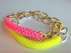 Lanyard Bracelet (gimp and chain) - #Beading #Jewelry #Tutorials