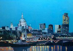 By Contemporary Artist Emma Cownie London Skyline, Seattle Skyline, Time Painting, Donegal, City Art, South Wales, Night Time, Contemporary Artists, Empire State Building