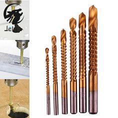 Jelbo avellanado broca 6 unids taladro power tools velocidad fuera metal titanium coated hss brocas set sierra de metal y plástico agujero