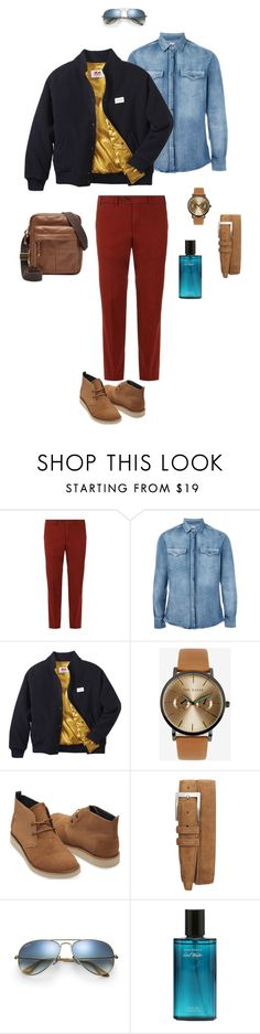 """""""Men navy bomber"""" by ulusia-1 ❤ liked on Polyvore featuring Harrods, Brunello Cucinelli, Twins For Peace, Ted Baker, TOMS, Torino, Ray-Ban, FOSSIL, men's fashion and menswear"""