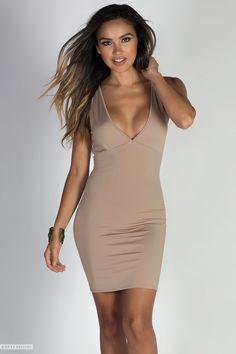 fa0119494efc Deep V Wide Strap Empire Waist Mocha Jersey Bodycon Mini Dress Beige Dresses,  Trendy Dresses