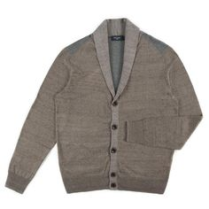 Brown And Khaki Ribbed Striped Cardigan ++ Paul Smith