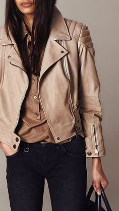 Cropped Leather Biker Jacket   Burberry