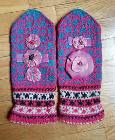 Hand knitted wool mittens Woman's mittens Glamour mittens