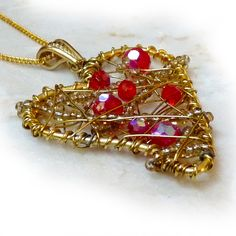 Wire Wrapped Art Heart Pendant In Red & Gold