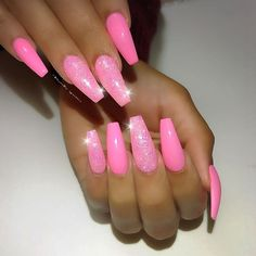 Coral pink nails, barbie pink nails, cute pink nails, pink acrylic nails, g Coral Pink Nails, Hot Pink Nails, Summer Acrylic Nails, Best Acrylic Nails, Fancy Nails, Pretty Nails, Bright Pink Nails With Glitter, Pink Acrylics, Spring Nails