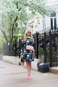 Blair in an Erin Fetherston floral dress, Illesteva sunnies and Chanel bag and flats.