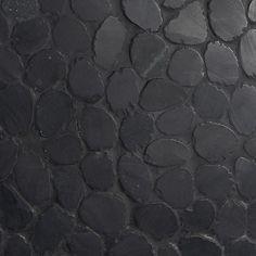 Ivy Hill Tile Countryside Black Lava Sliced Round 4 in. x 6 in. Mosaic Floor and Wall Tile Sample Pebble Shower Floor, Rock Shower, Stone Mosaic Tile, Mosaic Tiles, Pebble Mosaic, Mosaic Pots, Mosaic Garden, Black Tile Bathrooms, 3d Tiles Bathroom