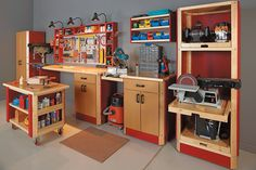 Build Your Own Custom Shop - Take a Closer Look Overhead Storage Rack, Storage Racks, Garage Storage Systems, Diy Garage Storage, Wall Storage, Storage Ideas, Garage Workbench, Workbench With Drawers, Pegboard Garage
