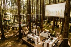 Emerald Forest Wedding Venue, venue in the woods, micro wedding seating ideas, table for two, table for 4, unique micro wedding venues, elopement photographer, seattle washington wedding in the woods Forest Wedding Venue, Wedding In The Woods, Seattle Wedding Venues, Wedding Table Seating, Seattle Washington, Emerald, Household, Table Decorations, Unique