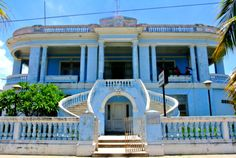 French mansion from 1920's converted into a public run down building in Cienfuegos, Cuba