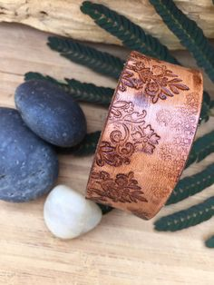 Hand Tooled Leather Cuff Bracelet Floral Boho Rich Brown