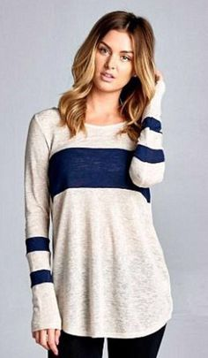 This is a cute, casual top.  I like the placement of stripes.
