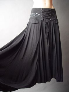 Corset Waist Cinch Steampunk Goth Medieval Renaissance Wench Gypsy Black Skirt S | eBay