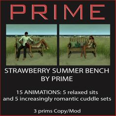 Strawberry summer bench with 15 animations: 5 sits and 5 increasingly romantic cuddles.