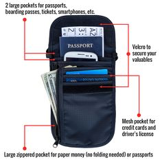 Lots of options! The hidden neck wallet and passport holder from Travel Navigator Accessories makes it easy to keep your items organized