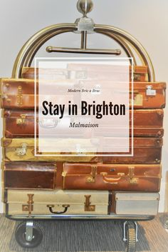 Vintage luggage display at the recently refurbed Malmaison in Brighton Marina. Take a peek inside with my latest blog post on Modern Bric a Brac, Stay in Brighton - Malmaison cocktails and canapés.