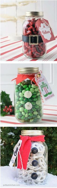 Potes de vidro decorados para o natal. #potes #vidro #decoração #natal #artesanato #garrafas #reciclagem