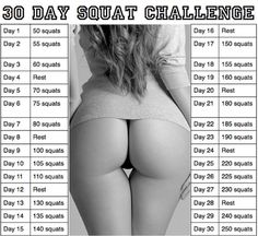 30 Squat challenge! Hoping my butt will look like that again if I do this instead of the cottage cheese I got after twins...lol