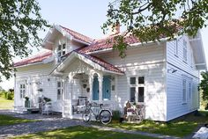 This beautiful white romantic house is situated in Norway. The house was decorated for a young family with children; the house is white that is