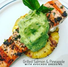 Grilled Salmon & Pineapple with Avocado Dressing: www.thygoodness.com: There's nothing I love more than a hot cup of tea and the food network on a Saturday morning.  Seriously.  Giada's recipe for Grilled…