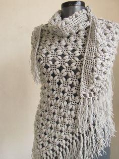 Gray shawl Silver Glitter GREY Shawl Crochet shawl by asuhan, $70.00
