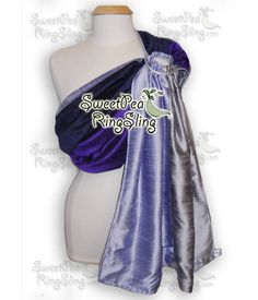 SILK Ring Sling Double Layer, Reversible, Dupioni SweetPea Ring Sling Gift Purple Blue Silver Baby Carrier Wrap Reversible Made in the USA by SweetPeaRingSlings on Etsy