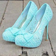 """Tiffany"" blue lace pumps"