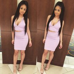 Kayla Phillips Halter Neck Crop Top Bodycon Skirt Two Piece Set Pastel Pink Nude Strappy Sandal High Heels Ponytail Hairstyle Black Beauty Mixed Chicks Pretty Girl Swag Party Glam Fashion Style Outfit OOTD