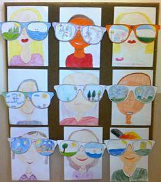 Brýle jsou vyrobené podle šablony, děti si je obkreslily, obtáhly konturu lih. fixem a vše kreslily pastelkami. Nejdříve autoportréty, vynechaly oči a poté nalepily brýle