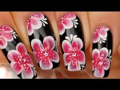 Nail art one stroke fleurs asiatiques / Asian one stroke flower nail art    i cant wait to try this!!!
