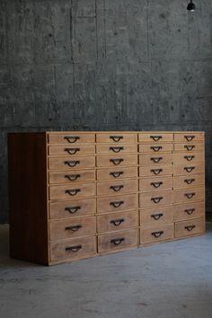 beautiful set of drawers, delightfully worn, timber and metal #drawers #storage #organisation