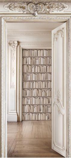 Haussmann library - Trompe l'oeil wall covering