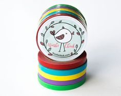 Skinny Washi Tape Set - 5 rolls, 5mm x 10m, red, blue, yellow, purple and green solid color washi tape, ultra thin washi tape