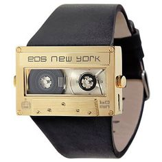 EOS New York Mixtape Silver Orologio Acciaio Pelle Nero Unisex Cool Watches, Watches For Men, Cute Anniversary Gifts, Hand Watch, Stainless Steel Case, Mixtape, Black Leather, Unique, Gold
