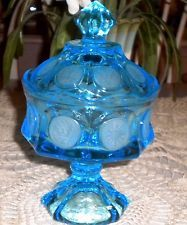 fostoria green glass bowl | Vtg Fostoria Blue Glass Covered Compote Candy Dish Bowl w/ Frosted ...