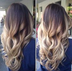 Dark brown to blonde ombre & balayage  hairstyle, wondeful summer waves 2015