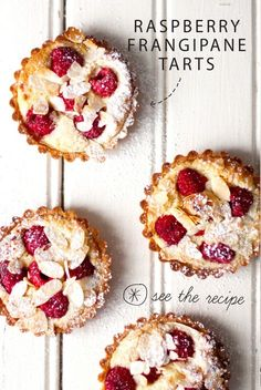 This recipe for Raspberry Frangipane Tarts is for the love of rasberries, tarts and sweet things! British Baking Show Recipes, British Bake Off Recipes, Great British Bake Off, Tart Recipes, Sweet Recipes, Baking Recipes, Dessert Recipes, Dutch Recipes, Healthy Recipes