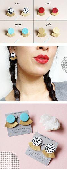 Peek-a-boo Geometric Leather Ear Jackets + + + Graphic Print Earrings by Scandinazn