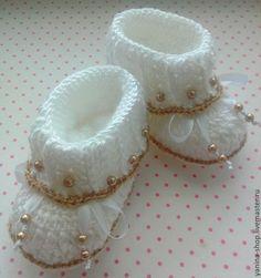 """Купить пинетки """"Принцесса"""" - белый, однотонный, золотистый, золото, ботиночки, ботинки, пинетки для новорожденных ♥♥"""