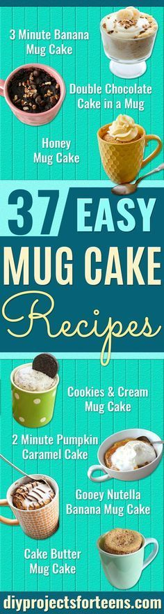 Easy Mug Cake Recipes - Best Microwave Cakes and Ideas for Baking Ckae in The Microwave - Chocolate, Vanilla, Healthy, Snickerdoodle, Peanut Butter, Bownie and Nutella - Step by Step Tutorials and Instructions - Besy DIY Projects and Recipes for Teens and