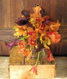 Orange and burgundy bouquet