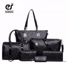 6 PCS/Set Women Handbag Crocodile Pattern Composite Bag