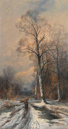 Holz Leserin in Winterlandschaft, R. Ducat. French, 19th century. - Oil on Canvas -