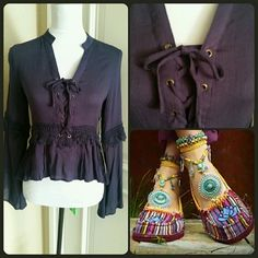 """Purple Boho Hi-Lo Top Pretty top in a deep purple with crochet lace trim and bell sleeves. Lace up in the front. Measures approximately: Front 19.5"""", Back 24"""", Sleeves 23"""", bust 17"""" across lying flat and not stretched. Pretty eggplant color. Size Small. Material 100% Rayon. NWT. Double Zero Tops Blouses"""