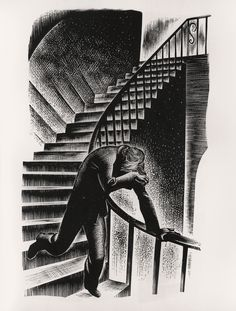 "Lynd Ward wood engraving for his wordless illustrated 1933 novel, ""Prelude to a Million Years"""