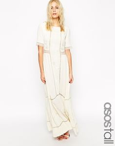 0b5d5bbcef ASOS TALL Maxi Dress With Lace Inserts and Floral Embroidery at asos.com. Bridesmaid  DressesWedding ...