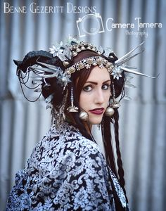 Reserved******* JS* Hades Harvest  Tribal Fusion Bellydance  Horn headdress or witch crown malificent by BenneGezerittDesigns on Etsy https://www.etsy.com/listing/176328312/reserved-js-hades-harvest-tribal-fusion