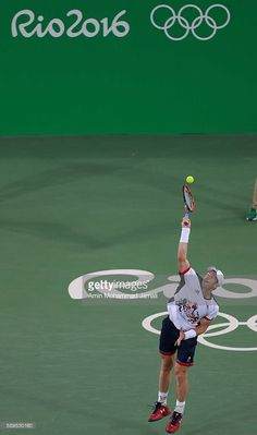 Andy Murray of Great Britain in action during his match with Juan Martin del…